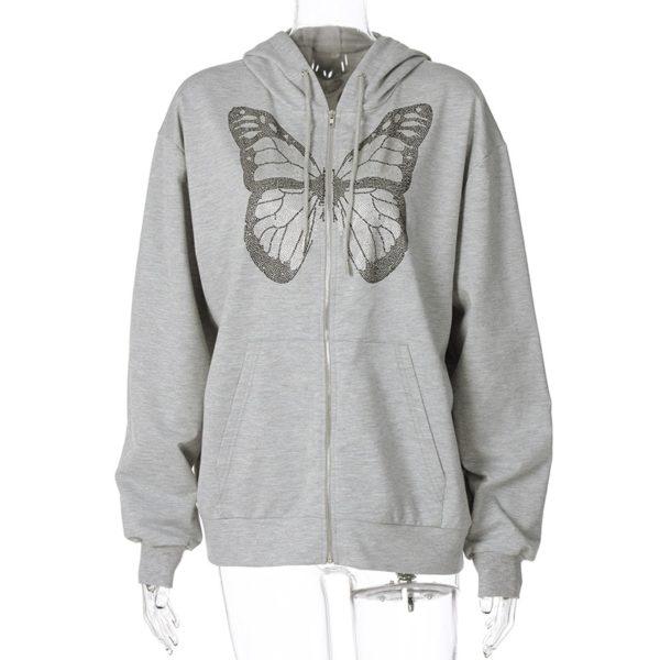 Dámská Fashion mikina na zip s motýlem