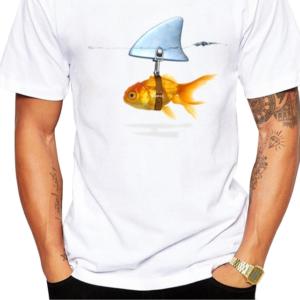 Pánské vtipné tričko s potiskem zlaté rybky