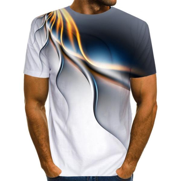 Pánské triko se zajímavým 3D potiskem a krátkým rukávem