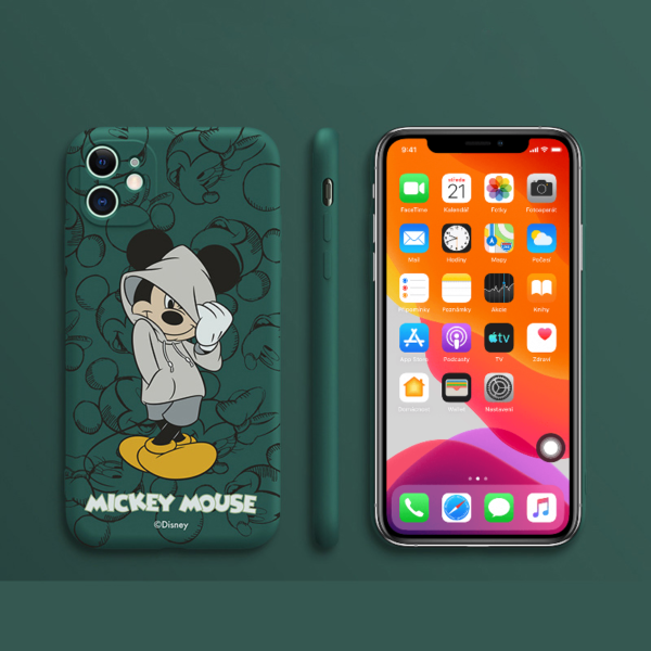 Silikonové pouzdro na iPhone s potiskem oblíbeného zamilovaného páru Mickeyho a Minnie