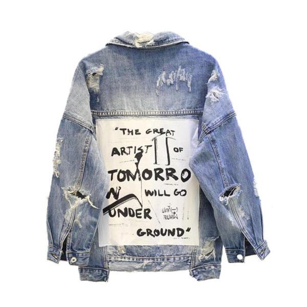 Dámská džínová trhaná bunda s nápisy Alex