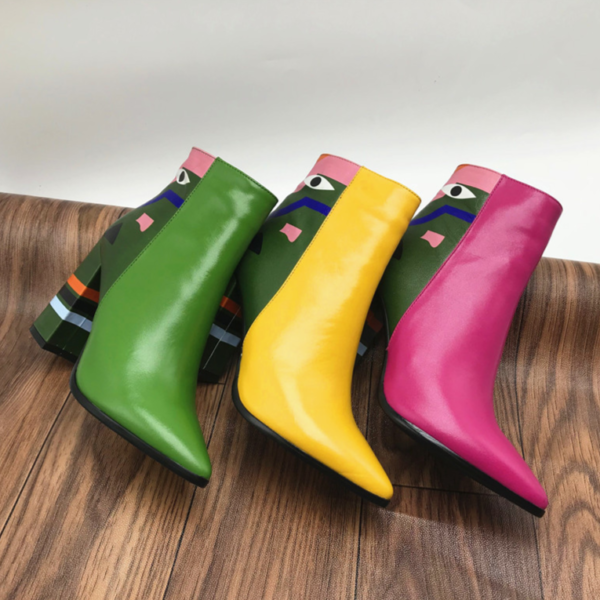 Dámské designové kotníkové boty na podpatku