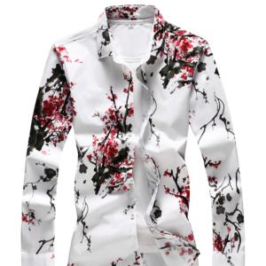Pánská košile s dlouhým rukávem a květinovým potiskem