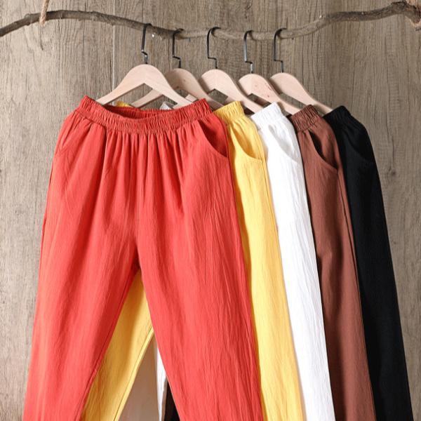 Dámské ležérní bavlněné Plus Size kalhoty