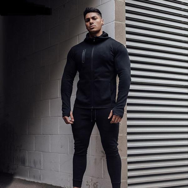 Tepláková sportovní pohodlná černá jednoduchá souprava