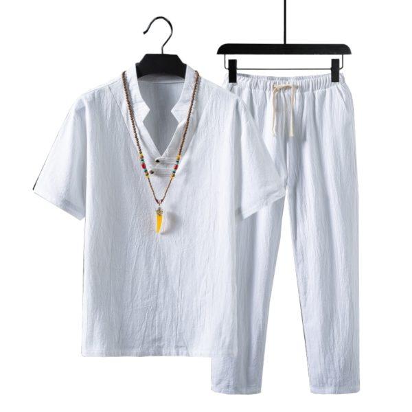 Pánská volnočasová bavlněná souprava trička a kalhot