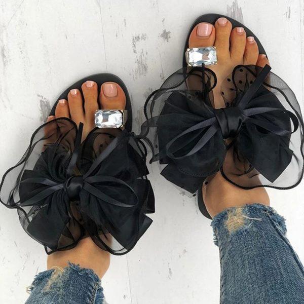 Letní roztomilé protiskluzové sandále s velkou tylovou mašlí