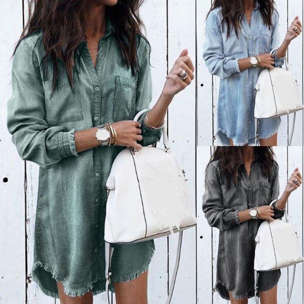Dámské stylové dlouhé DENIM | Džínové letní šaty