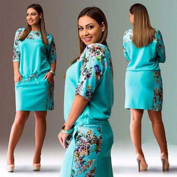 Dámské krátké květované šaty v Plus Size velikostech