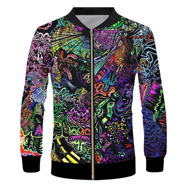 Pánská stylová bunda na zip s abstraktním motivem