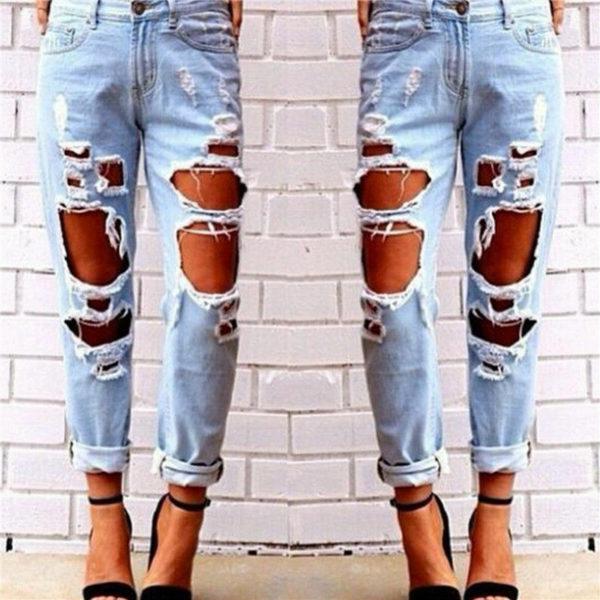 Dámské módní roztrhané džíny