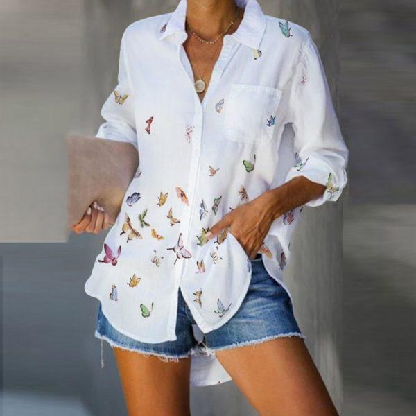 Dámská moderní letní košile s dlouhým rukávem Butterfly