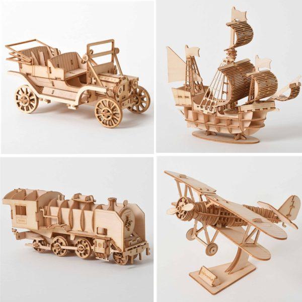 Dřevěné 3D vzdělávací puzzle - model letadla, vláčku nebo lodi