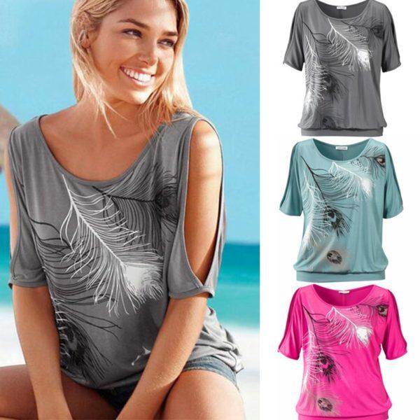 Dámské ležérní tričko s odhalenými rameny