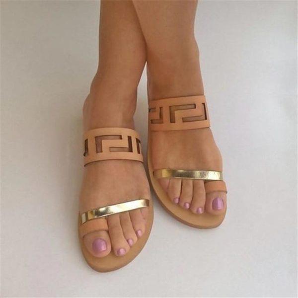 Dámské letní pantofle v módním páskovém designu