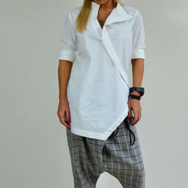 Dámská dlouhá asymetrická košile s dlouhým rukávem