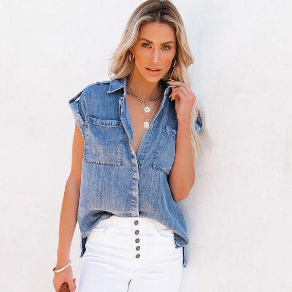 Dámská moderní letní džínová vesta Nicol