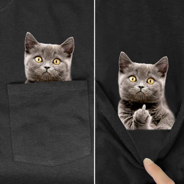 Pánské basic tričko s potiskem koček v kapsičce