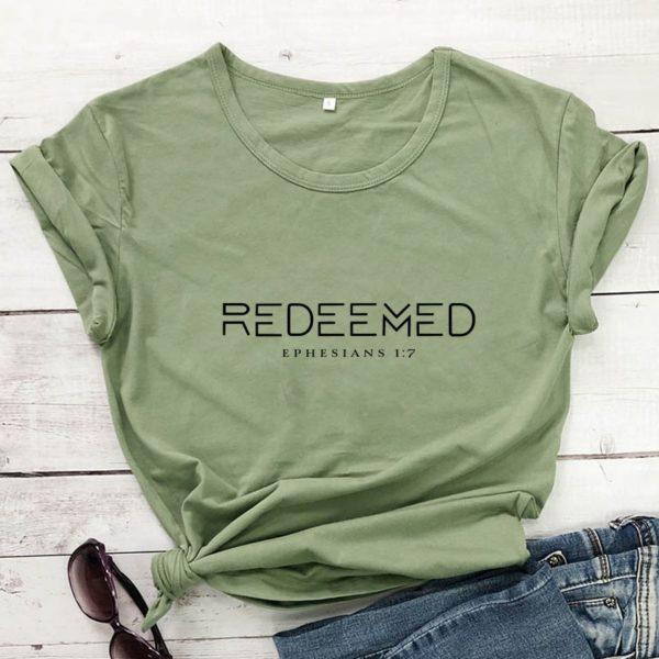 Dámské letní triko s nápisem Redeemed