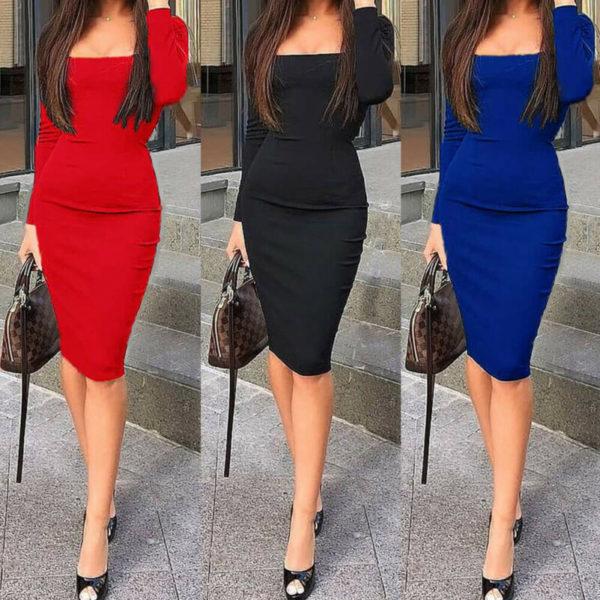 Dámské elegantní jednobarevné Bodycon šaty